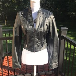 Bebe Black leather jacket size S